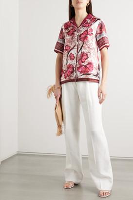 F.R.S For Restless Sleepers Homonoia Floral-print Silk-twill Shirt - Burgundy