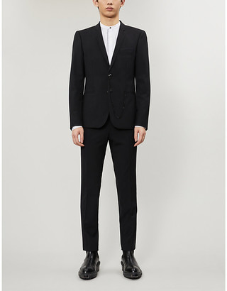 The Kooples Chain-trim slim-fit wool-blend blazer