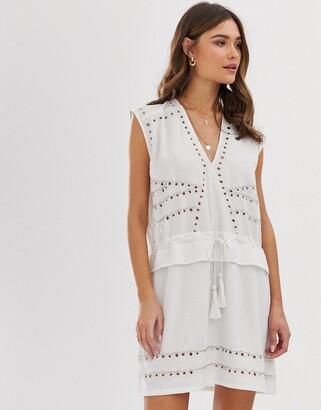 Religion studded mini shift dress-White