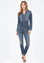 Bebe Manny Denim Zip Jumpsuit