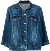 Sacai wave sleeved denim jacket