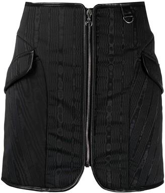 Marine Serre Fitted Zip-Front Mini Skirt