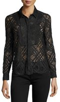 Burberry Long-Sleeve Lace Shirt, Navy