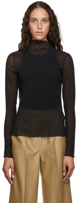LVIR Black Sheer Wrinkle Turtleneck