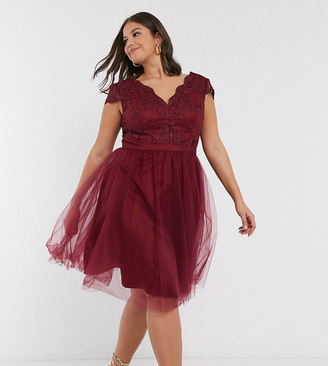 Chi Chi London Plus lace and tulle midi dress in burgundy