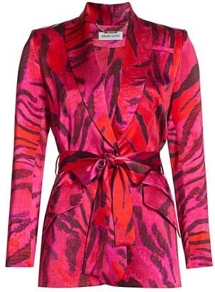 Adriana Iglesias Duna Tiger-Print Stretch-Silk Jacket