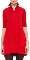 Akris Half-Sleeve Half-Zip Tunic Sweater, Pomegranate/Miracle