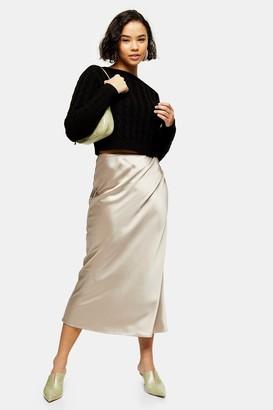 Topshop Womens Petite Mink Satin Bias Maxi Skirt - Mink