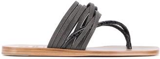 Brunello Cucinelli Stud-Embellished Thong Sandals