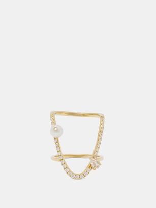 Anissa Kermiche U Diamond, White Sapphire & Pearl Ring - Yellow Gold