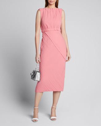 Jason Wu Collection Asymmetric Crinkled Satin-Back Crepe Dress
