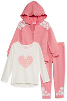 Nannette Little Girls' 3-Pc. Embroidered Hoodie, Top & Leggings Set