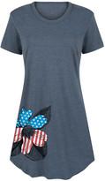 Instant Message Women's Women's Tee Shirt Dresses HEATHER - Heather Blue Star & Stripes Flower Short-Sleeve Dress - Women & Plus
