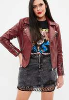 Missguided Curve Red Faux Leather Embroidered Biker Jacket, Red