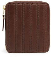 Comme des Garcons Men's 'Embossed Stitch' French Wallet - Brown