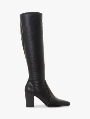 Dune Sadee Knee High Block Heel Boots, Black