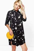 boohoo Bowie Star Print Shirt Dress