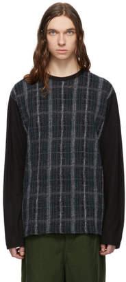 Comme des Garcons Homme Black Wool Check Crewneck Sweater