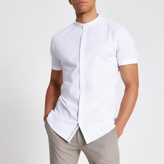 River Island Maison Riviera white grandad collar shirt