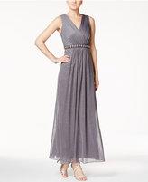 MSK Metallic Rhinestone-Trim Gathered Gown