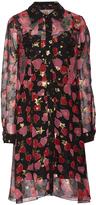 Anna Sui Heartbeat Metallic Chiffon Shirt Dress