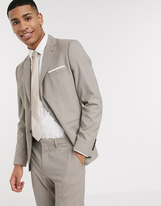 Selected skinny fit stretch suit jacket in sand