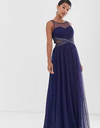 Little Mistress mesh upper embellished waist detail skater maxi dress-Navy