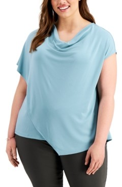 Alfani Plus Size Asymmetrical Drape-Neck Top, Created for Macy's