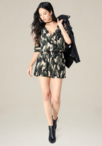 Bebe Camo Cold Shoulder Romper