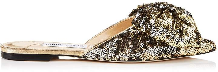 Jimmy Choo GEORGIA FLAT Silver and Gold Double Faced Sequined Pointy Toe Flats