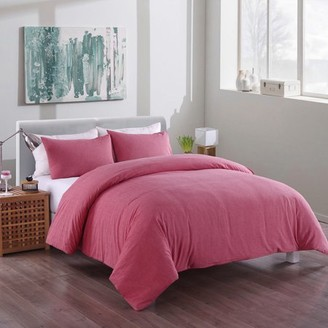 Messy Bed Washed Cotton Duvet Cover and Sham Set, Red, Full/Queen