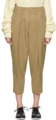 Y's Ys Beige Big Tuck Trousers