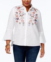 Charter Club Plus Size Cotton Embroidered Shirt, Created for Macy's