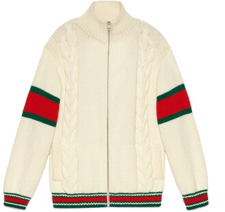 Gucci Cable knit bomber jacket