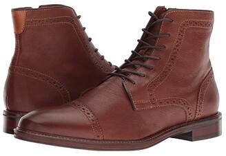 Johnston & Murphy Warner Cap Toe Zip Boot (Dark Tan Full Grain) Men's Dress Lace-up Boots