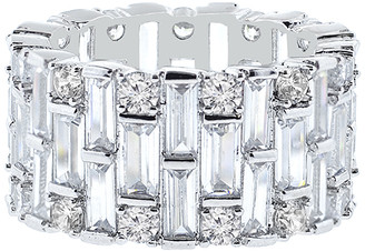 Swarovski Golden Moon Women's Rings Silver - Silvertone Eternity Ring With Crystals