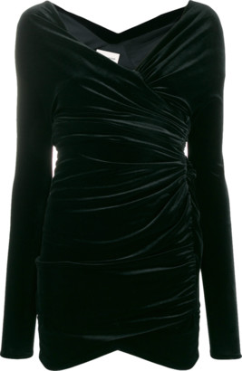 Alexandre Vauthier Velvet Jersey Off Shoulder Mini Dress