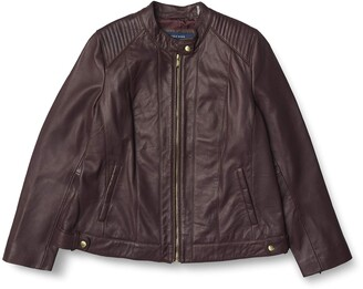 Cole Haan WOMENS Smooth Lamb Racer Jacket Red 1X