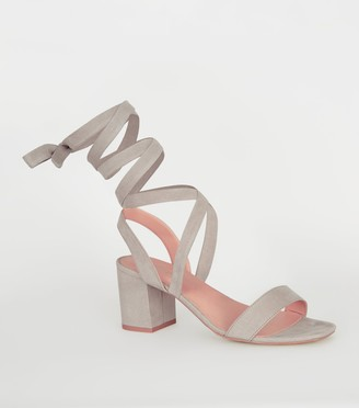 New Look Suedette Ankle Tie Block Heels
