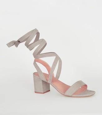 New Look Suedette Ankle Tie Block Heels