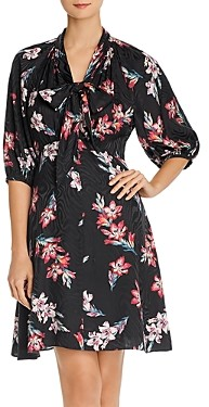 Rebecca Taylor Noha Floral Tie-Neck Dress