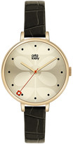 Orla Kiely Ivy Watch with Thin Leather Strap - Black