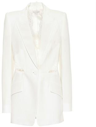 Alexander McQueen Lace-trimmed crepe blazer