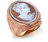 "AMEDEO ""Cigno dell'Isola"" 20mm Sardonyx Cameo Sterling Silver Ring"