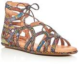 Gentle Souls Break My Heart Metallic Snake Embossed Gladiator Sandals