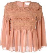 See by Chloe smocked sheer blouse