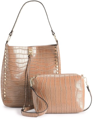 Mellow World Crocodile Print Embossed Shoulder Bag & Crossbody Pouch