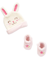Sweet & Soft Pink Bunny Beanie & Bootie Set - Infant