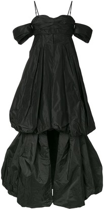 Vera Wang Off The Shoulder Draped Silk Gown