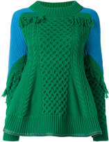 Sacai trellis knit frayed sweater - women - Polyester/Wool - 3